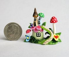 Miniature Whimsical Fairy Blossom & Toadstool by ArtisticSpirit on Etsy.