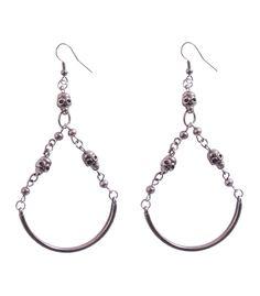 3 skull hoop drop earrings with 3 small gun metal skulls! Metal Skull, Designer Earrings, Round Beads, Types Of Metal, Ear Piercings, Skulls, Gun, Just For You, Hoop Earrings