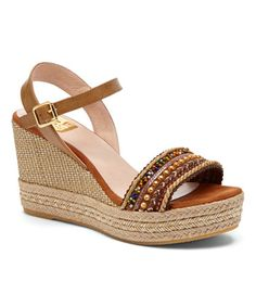 Loving this Brown Beaded Valentina Leather Wedge Sandal on #zulily! #zulilyfinds