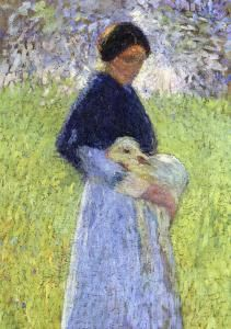 A Shepherdess and Her Sheep Henri Martin
