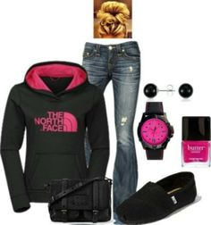 Comfy clothes and its black and pink. My favorite !!