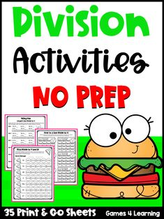 These fun division activities focus on basic division facts. These are differentiated activities that review dividing by 1-12. Fourth Grade, Third Grade, Division Activities, Thing 1, Multiplication And Division, Math Classroom, Worksheets, Prepping, Facts