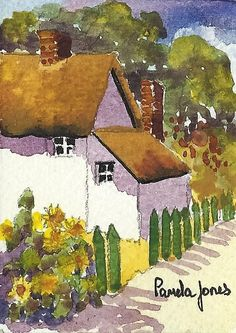 ACEO Original Watercolour Thatched by Pamelajonesartstudio