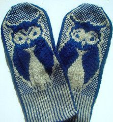 Owl Mittens from Knitting Bee