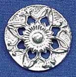 "Cut Heart - 1760's Coat, Sleeve, Waistcoat Button - (L-7/8"", Item # B-0220L-RT), (S-5/8"", Item # B-0220S-RT), ($6.50 per card of 6 buttons) - Three Feathers Pewter 12 East Jackson Street Millersburg, Ohio 44654-1214, Phone 330-674-0404"