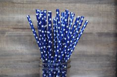 25 Blue with White Stars Paper Straws