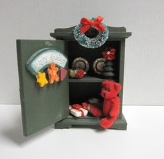 Miniature Wooden Christmas Bear House Wall Hanging by DoVintique