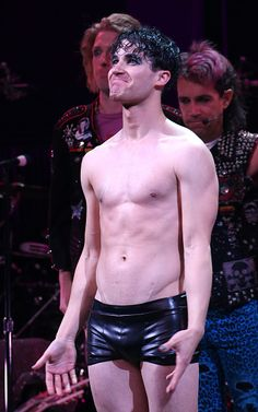 Darren Criss onstage during his debut curtain call for 'Hedwig and the Angry Inch' at the Belasco Theatre on April 29, 2015 in New York City.