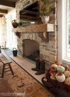 Rustic fireplace decor ideas and choices run the gamut from a bulky decorating id . rustic mantle decor home decorating ideas in plans fireplace House Design, Home Fireplace, Living Room With Fireplace, Rustic Farmhouse Fireplace, Living Room Diy, Home Decor, Farmhouse Fireplace Decor, Rustic Stone Fireplace, Rustic House