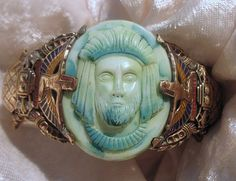 Art Deco Egyptian Revival Czech glass Pharaoh, and snake cuff Bracelet, ONE OF A KIND