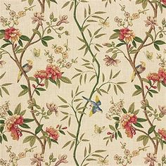 Refreshing sage/beige print drapery and upholstery fabric by G P