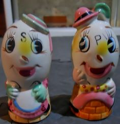 Humpty Dumpty Salt and Pepper Shakers Made in Japan Vintage