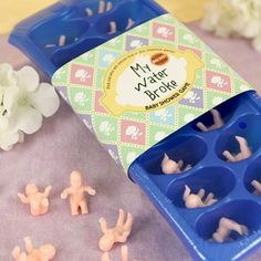 The my water broke baby shower game will sure break the ice at your upcoming baby shower celebration! Guests will be taken by surprise when you let them know about the little one in their favorite beverage! Prior to the shower, place a baby in each cube slot and make ice. During the shower, serve refreshments with the special ice. The guest that has their baby break free first is the winner!