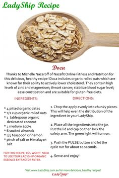 Want to have a healthy breakfast tomorrow? Get your LadyShip and prepare a plate of yummy Doca! Thanks to Michelle Nazaroff of Nazafit Online Fitness and Nutrition for this recipe!