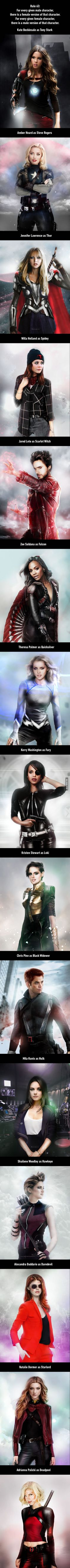 When Rule 63 Genderswap Applies To Marvel Characters (By Disimilis)