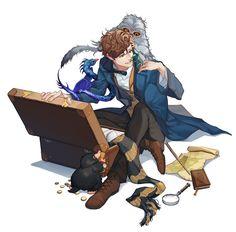 Newt Scamander & his Fantastic Beasts https://twitter.com/namdong24/status/806885705230127104