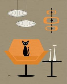 """""""Mod Chair in Orange"""" by Donna Mibus: From the Mid Century Modern Cat in Chair Series // Buy prints, posters, canvas and framed wall art directly from thousands of independent working artists at Imagekind.com."""