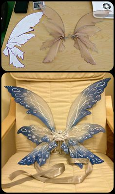 DIY Blue Fairy Wings (based on http://glittrrgrrl.deviantart.com/art/Posie-fairy-wings-with-beads-200124364)
