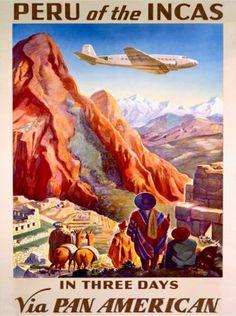 Peru flight poster. Pan Am.