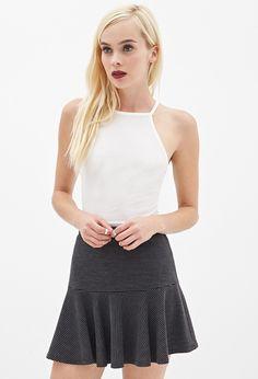 Textured Stripe Flare Skirt