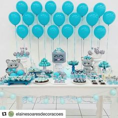 The color coordination is fantastic! Baby Shower Deco, Baby Shower Balloons, Shower Party, Baby Shower Parties, Baby Shower Themes, Baby Boy Shower, Baby Showers, Diy Party Decorations, Balloon Decorations