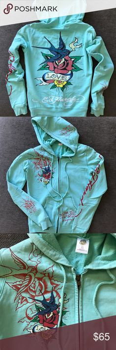 Ed Hardy LOVE TATTOO Hoodie XS Bought it at Ed Hardy store in Hawaii. 100% authentic. Really cute prints. Ed Hardy Tops Sweatshirts & Hoodies