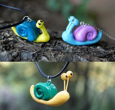 Snail+necklace+snail+jewelry+snail+accessories+cute+by+onegaiKAERU,+¥2,000