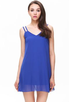 Blue Spaghetti Strap Loose Chiffon Dress 14.33
