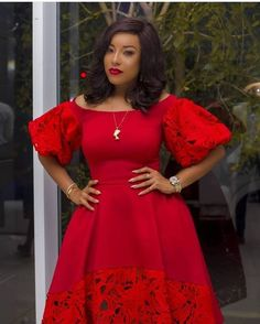 Red dress with bottom and sleeves in lace pretty for evening from Diyanu - Ankara Dresses, Shirts & African Lace Styles, African Print Dresses, African Print Fashion, African Fashion Dresses, African Dress, African Style, Latest Dress Design, Short Gowns, African Traditional Dresses