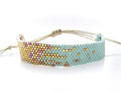 Mint Beaded Bracelet, Blue Stardust Bracelet, Adjustable Bracelet, Pixel Effect Bracelet, OOAK Bracelet Handmade by JeannieRichard