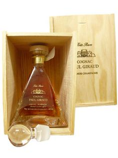 Girauds in cognac pole Giraud pyramid decanter; year rare limitation old liquor with luxurious wooden box & velvet bag, packing by the manufacturer, AOC Grand Champagne cognac