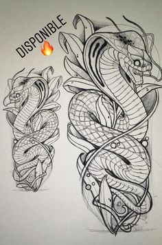 Tattoo Sketches, Tattoo Drawings, Body Art Tattoos, Hand Tattoos, Sleeve Tattoos, Snake Drawing, Snake Art, Kobra Tattoo, Japanese Snake Tattoo