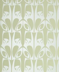 Barbara Hulanicki Wallpaper - Hula Pattern - in Soft Green Swatch contemporary wallpaper