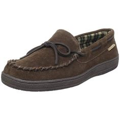 e55a56137cd3fc Experience this genuine suede moccasin slipper that will keep your feet  comfortable and warm. It has soft flannel lining with a padded foam insole.