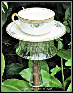 Vintage Teacup Bird Feeder Garden Totem by GardenWhimsiesByMary, $28.00