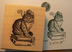 Royal cat rubber stamp Wood Mounted by dragonflybuzz on Etsy, $8.25