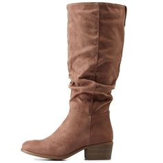 Charlotte Russe Lt Brown Ruched Contrast-Tab Riding Boots by Charlotte... ($36) ❤ liked on Polyvore featuring shoes, boots, lt brown, brown riding boots, equestrian boots, flat brown knee high boots, tall boots and slouch boots