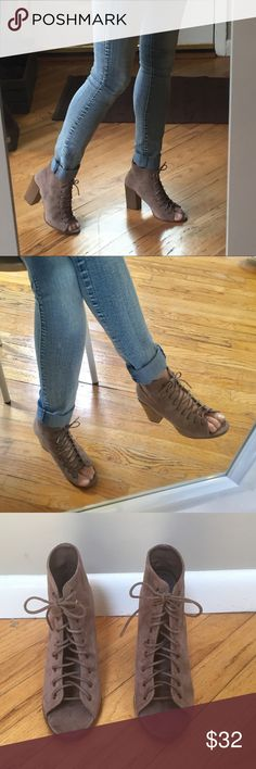 """Charlotte Russe Taupe Caged Lace-Up Sandal """"Jilly"""" style, Microfiber faux suede.  Faux stack heel 3 1/2"""", non-skid rubber sole. Like-new condition- never worn except to try on in store and model for this photo.  Sexy trendy new shoe for a great price! Charlotte Russe Shoes Sandals"""