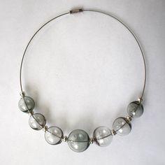 Necklace smoky glass. Blown beads very light. от LikeAGlassShop