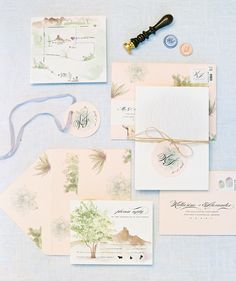 cactus watercolor invitation suite by Page and Mason - Melissa Jill Photography
