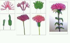 Одноклассники Seed Bead Flowers, French Beaded Flowers, Wire Flowers, Seed Beads, Beaded Flowers Patterns, Beads And Wire, Beading Tutorials, Carnations, Flower Making
