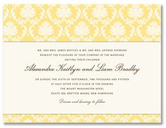 The damask pattern design is fixed in buttercup and cannot be changed. This card includes matching warm white envelopes unless otherwise noted. When customizing, please note that only three ink colors may be selected for your personalization. Printing in four or more ink colors is available for an additional charge. Please inquire with customer service for more details. Price $228.00