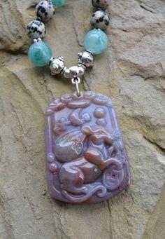Gemstone Tribal Necklace Jadeite Jasper Agate and by LKArtChic