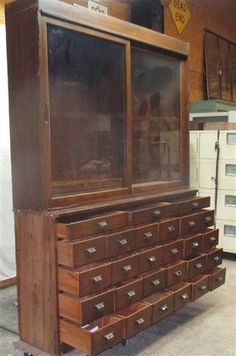 So cute, this one!!!! 27 Drawer Country Store Oak Display Case Counter Cabinet Hardware Showcase OLD #unknown