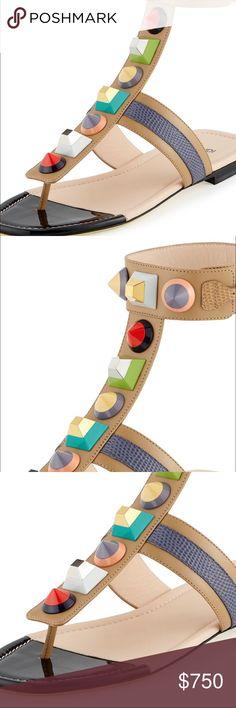 Fendi Studded Leather Gladiator Sandal Fendi Studded Leather Gladiator Sandal, Toast/Myrtle/Barley size 35 sold out new with box fendi Shoes Sandals