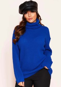 1a65ab9909 Harper Royal Blue Knit Roll Neck Jumper
