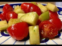 Refreshing and simple Fuel Pull salad - tomatoes, cucumber, balsalmic vinegar and garlic and onion powder