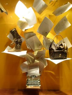 Louise Vuitton window display in Venice.  A backboard can be repaint end umpteenth times
