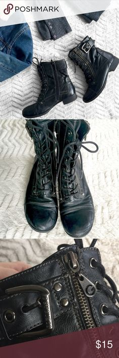 G by Guess Faux / Vegan Leather Black Combat Boots G by Guess • Women's size 7 • Lace up with a zipper on the side • Leopard print interior • Faux leather • They have a gunmetal buckle detail on the ankle • Slight heel, but still comfortable to wear • In great used condition—the only damage is a worn off patch of color on the right boot (shown in photo 5) and the logo is worn off of the soles (plus typical wear to the bottoms). They still have plenty of life left in them! Guess Shoes Combat…
