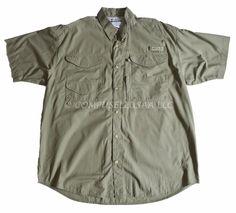 COLUMBIA MEN'S PFG Performance Fishing Gear SS Cotton Outdoor Shirt Sz L GREEN #Columbia #ButtonFront